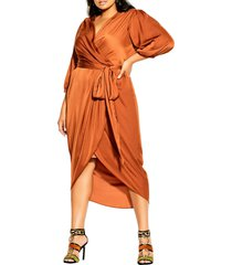 city chic opulent faux wrap dress, size x-small in caramel at nordstrom