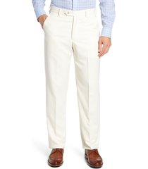 men's berle classic fit flat front microfiber performance trousers, size 31 - ivory