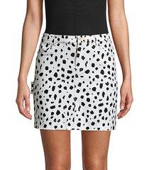 animal-print mini skirt