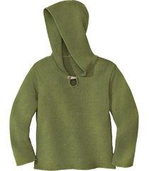 gebreide pullover met capuchon van bio-katoen, kiwigroen 110/116