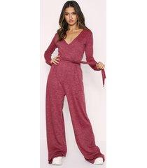wrap front long sleeve lounge jumpsuit, pink