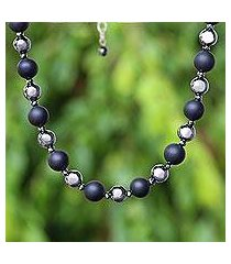 onyx and hematite beaded necklace, 'dark cosmos' (thailand)