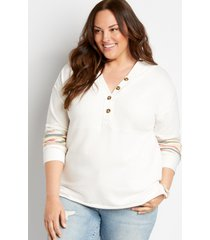 maurices plus size womens white rainbow sleeve button front hoodie