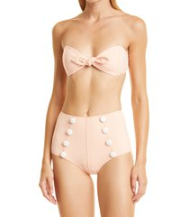 women's lisa marie fernandez poppy button two-piece swimsuit, size 0 - coral