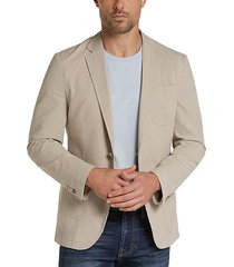joe joseph abboud men's tan seersucker slim fit casual coat - size: lt