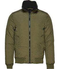 padded high collar bomber jkt bomberjacka jacka grön junk de luxe