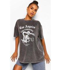 acid wash la slogan print oversized t-shirt, charcoal
