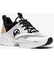 mk sneaker charlie in materiale misto - bianco ottico cangiante (bianco) - michael kors