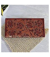 leather wallet, 'dancing vines' (india)