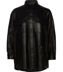 agnes thin leather shirt overshirts zwart mdk / munderingskompagniet