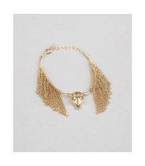 pulseira feminina com franjas pingente boi dourado