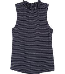 women's 1901 gathered neck sleeveless knit top, size large - blue