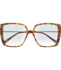 missoni eyewear oversized abstract print sunglasses - brown