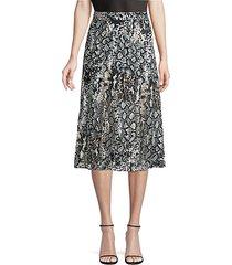 athena python-print stretch silk a-line midi skirt