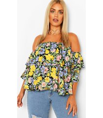 plus geweven bloemenprint top met ruches en open schouder, black