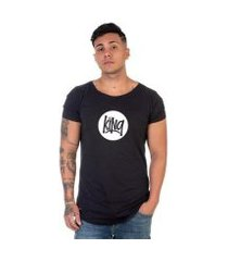 camiseta long line lucas lunny king casual masculina