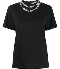 christopher kane flower crystal t-shirt - black