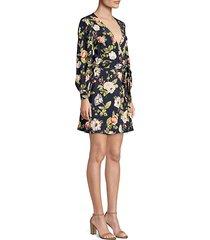 hannah floral blouson wrap dress