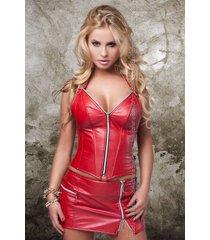 soleil by xxx collection rode leren mini rok met rits aan de zijkant