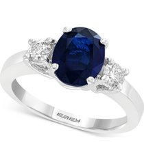gemstone bridal by effy sapphire (1-9/10 ct. t.w.) & diamond (3/8 ct. t.w.) engagement ring in 18k white gold