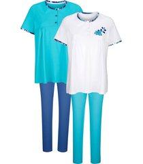 pyjama's per 2 stuks blue moon turquoise::marine::wit