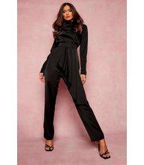 gedrapeerde wide leg jumpsuit, black
