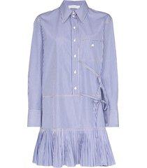 chloé pinstriped cotton-poplin mini dress - blue