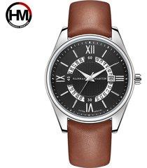 reloj de cinturón de moda de calendario para hombre-marrón