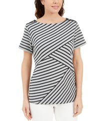 karen scott petite asymmetrical-stripe top, created for macy's