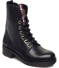 tommy essential biker boot shoes boots ankle boots ankle boot - flat svart tommy hilfiger