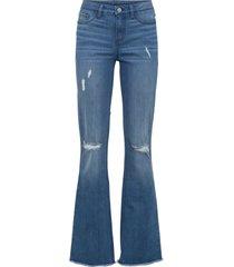 jeans a zampa effetto sdrucito con poliestere riciclato (blu) - rainbow