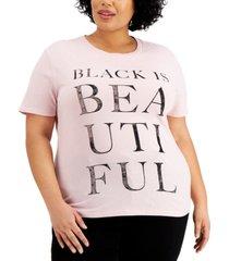 love tribe trendy plus size black is beautiful t-shirt