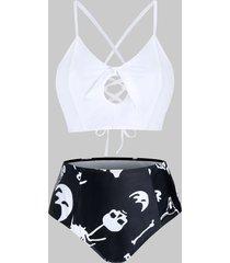 plus size skull print lace-up cross knot tankini swimwear