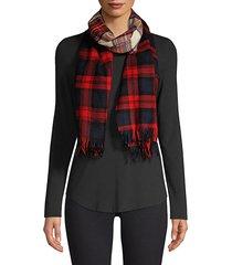 patchwork plaid wool scarf