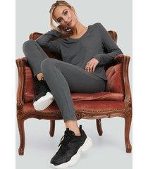 na-kd basic soft ribbed highwaist tights - grey