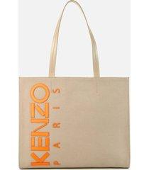 kenzo women's horizontal canvas shopper bag - beige