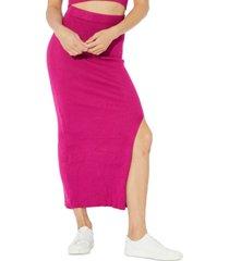 minkpink mona ribbed-knit midi skirt