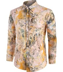 abstract print button up casual shirt