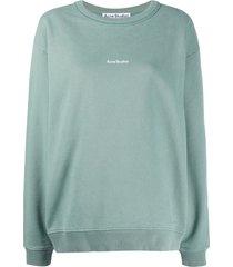 acne studios logo-print cotton sweatshirt - green