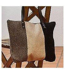 leather accented wool shoulder bag, 'layers of earth' (mexico)