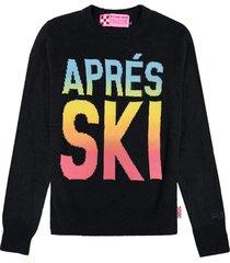 mc2 saint barth black woman sweater aprés ski degrade writing