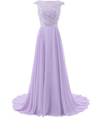 blevla cap sleeve beaded bodice chiffon bridesmaid evening party prom gown la...