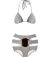 adriana degreas triangle bikini set - grey