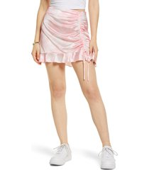 bp. tie dye side ruched satin miniskirt, size xx-small in white- pink tie dye at nordstrom