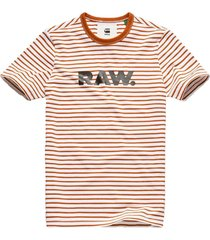 g-star raw resistor r neck stripe t-shirt white t-shirts prints wit