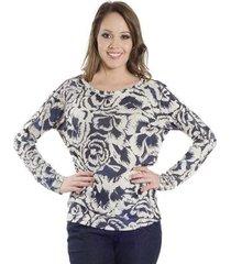 blusa estampada manga longa detalhe zíper ombro lucidez