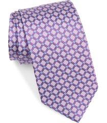 men's david donahue geometric silk tie, size one size - purple