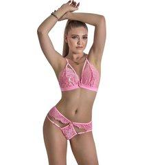conjunto lencería en encaje ajustable dama – bésame-rosa