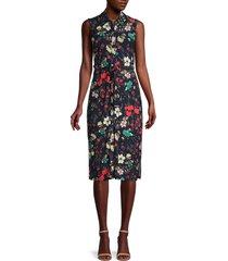 tommy hilfiger women's collage floral shirt dress - navy poppy - size 14
