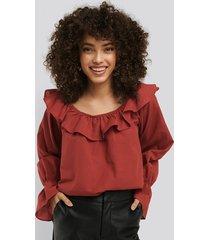 na-kd boho frilled wide neck blouse - red